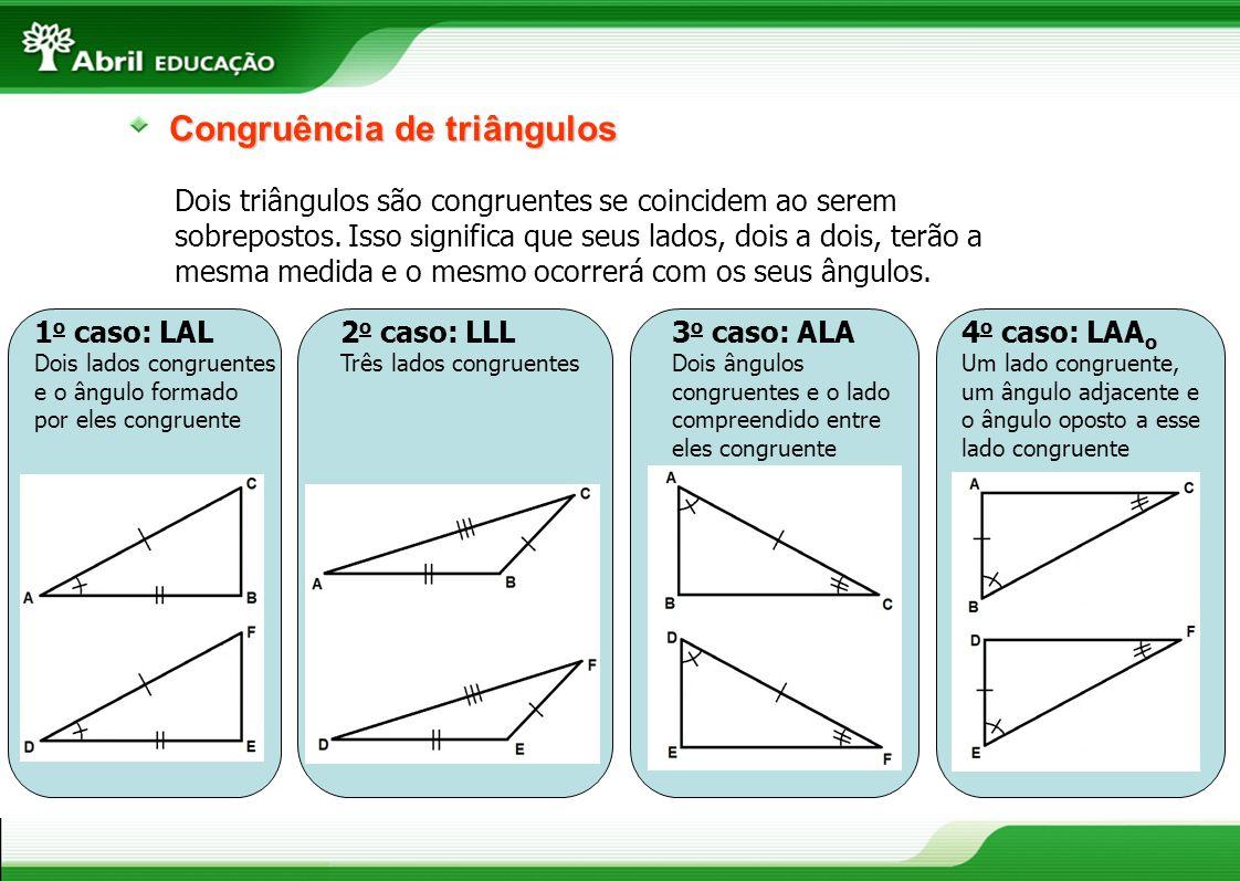 11 Congruência de triângulos Dois triângulos são congruentes se coincidem ao serem sobrepostos. Isso significa que seus lados, dois a dois, terão a me