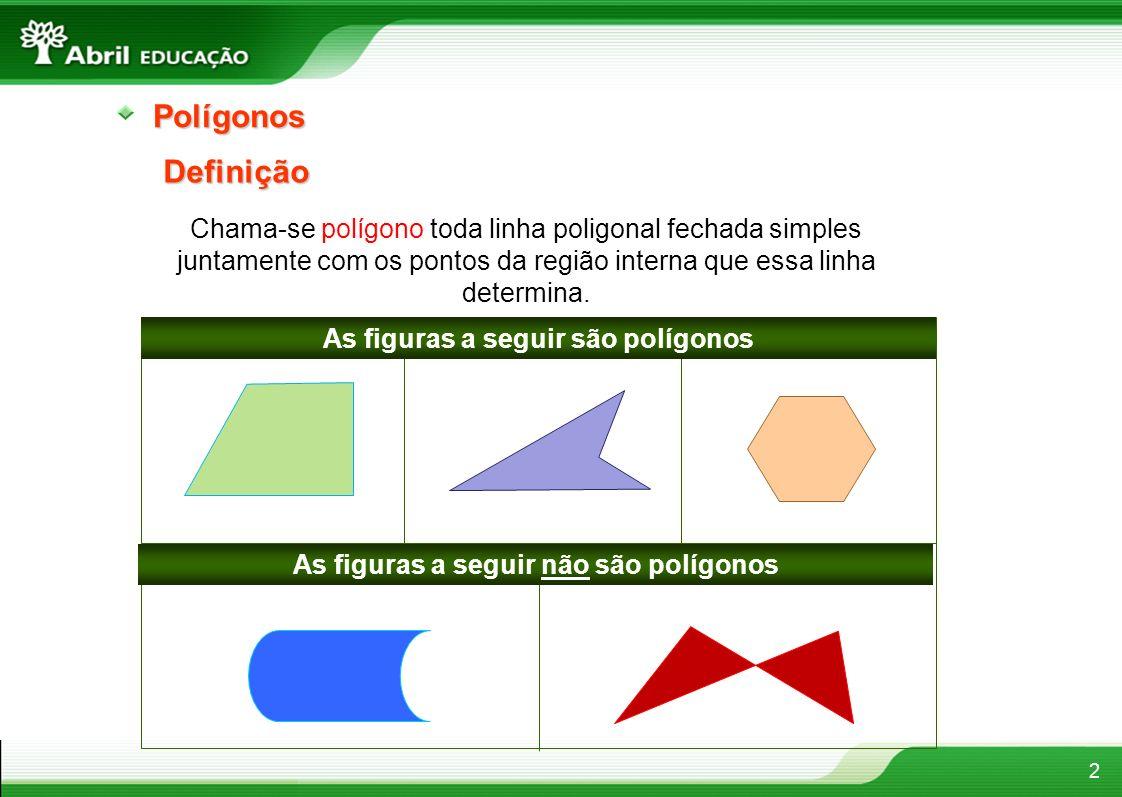 3 Um polígono se diz convexo quando o segmento de reta que une dois pontos quaisquer de sua região interna está sempre contido nela.