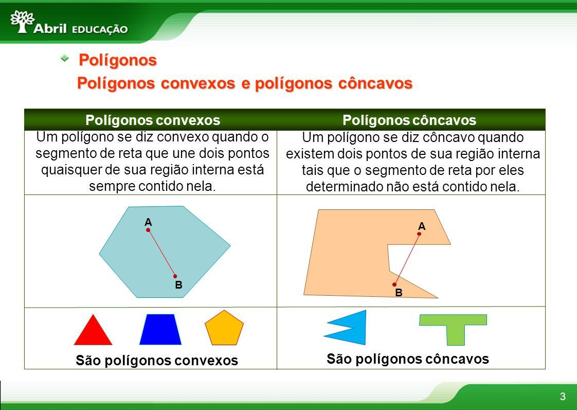 4Polígonos Elementos de um polígono No polígono ABCDE ao lado temos que: A B CD E Os segmentos são os lados do polígono; Os pontos A, B, C, D, E são os vértices do polígono; Os segmentos são as diagonais do polígono; são os ângulos do polígono; Nota: Diagonal de um polígono é o segmento de reta que une dois vértices não consecutivos desse polígono.