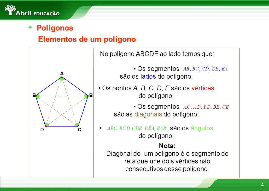 4Polígonos Elementos de um polígono No polígono ABCDE ao lado temos que: A B CD E Os segmentos são os lados do polígono; Os pontos A, B, C, D, E são o