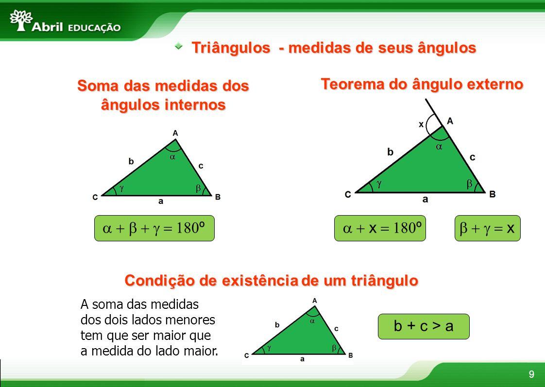 9 Triângulos - medidas de seus ângulos Soma das medidas dos ângulos internos Teorema do ângulo externo Condição de existência de um triângulo º x º x