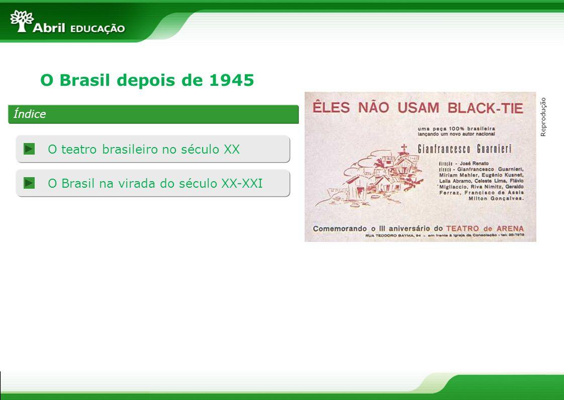 O teatro brasileiro no século XX 1943: foi encenado o texto Vestido de noiva, de Nélson Rodrigues.