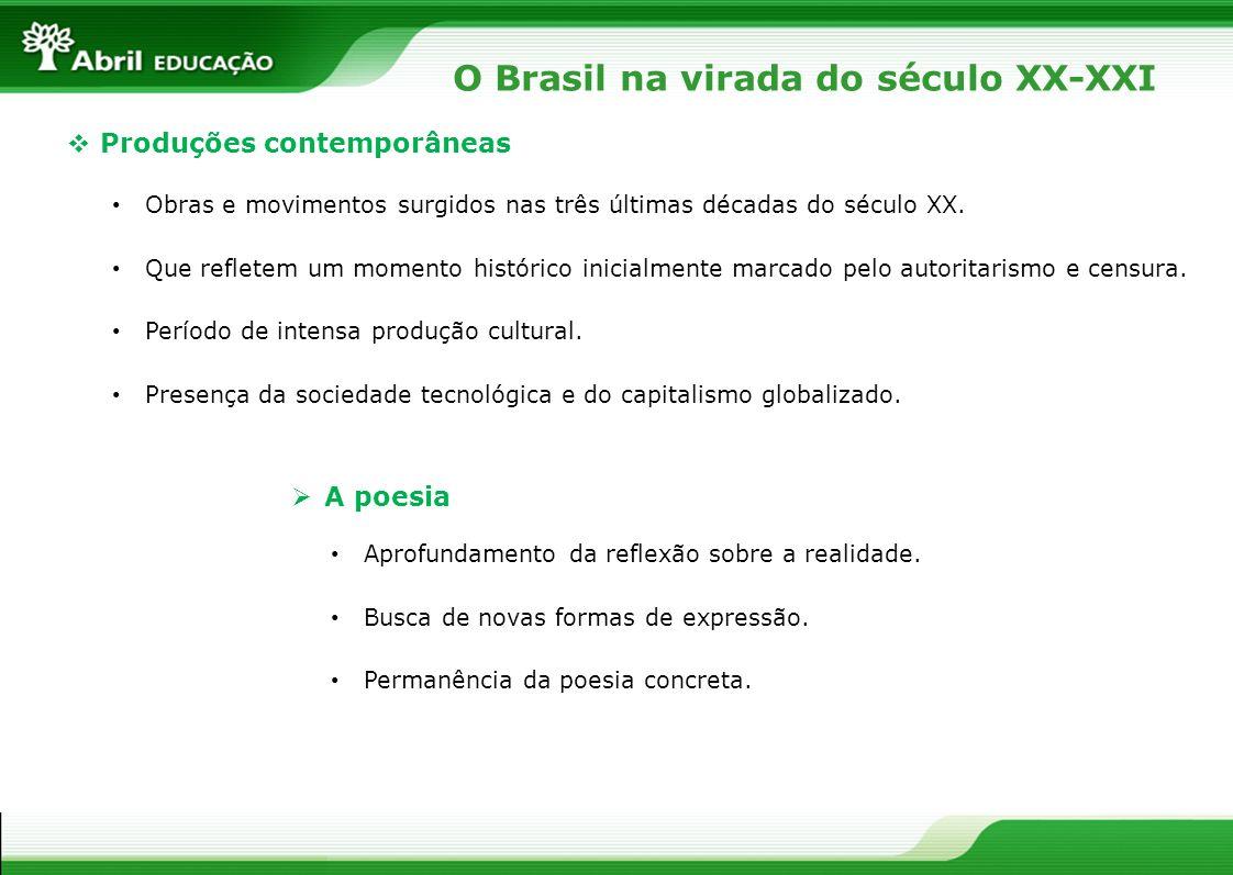 O Brasil na virada do século XX-XXI Produções contemporâneas Obras e movimentos surgidos nas três últimas décadas do século XX. Que refletem um moment
