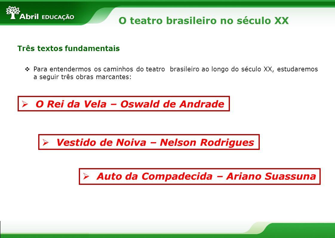 O teatro brasileiro no século XX Três textos fundamentais O Rei da Vela – Oswald de Andrade Vestido de Noiva – Nelson Rodrigues Auto da Compadecida –