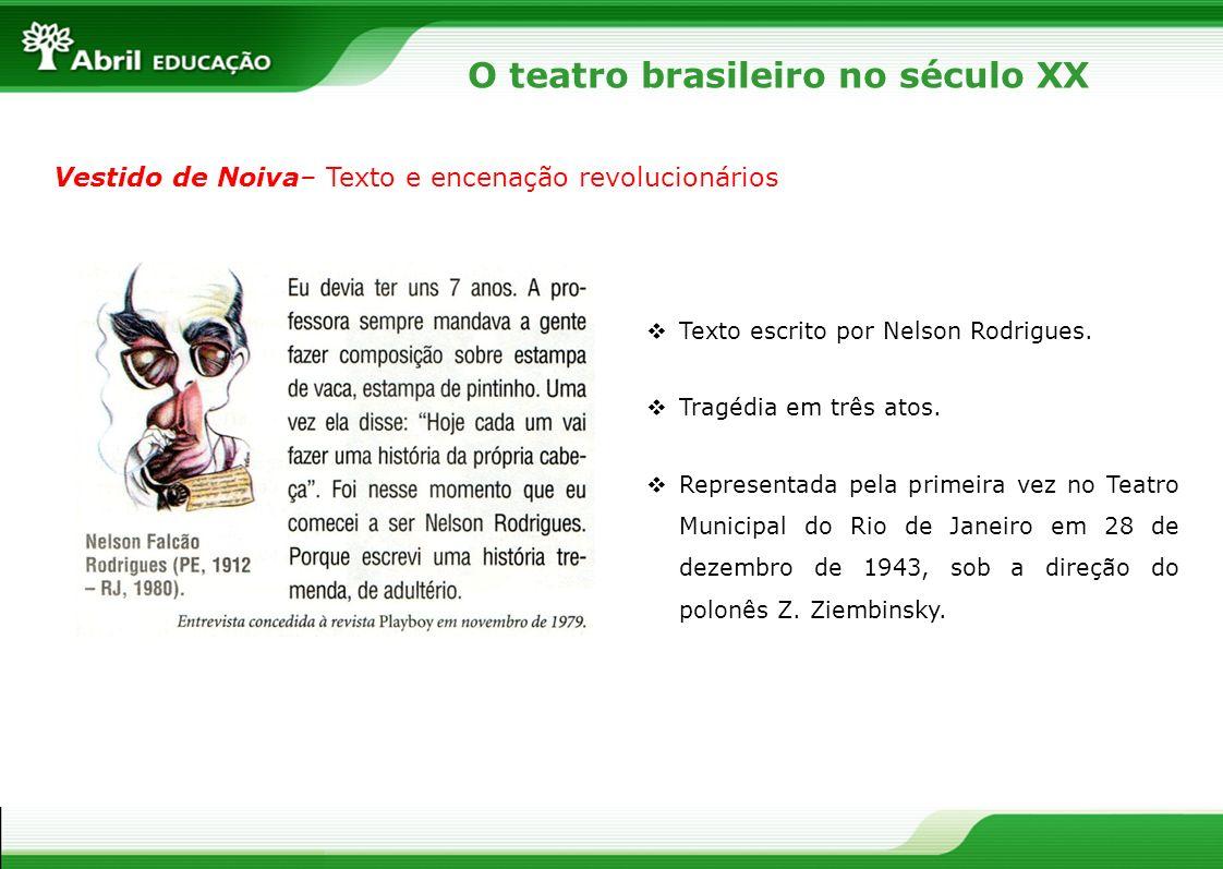 Vestido de Noiva– Texto e encenação revolucionários Texto escrito por Nelson Rodrigues. Tragédia em três atos. Representada pela primeira vez no Teatr