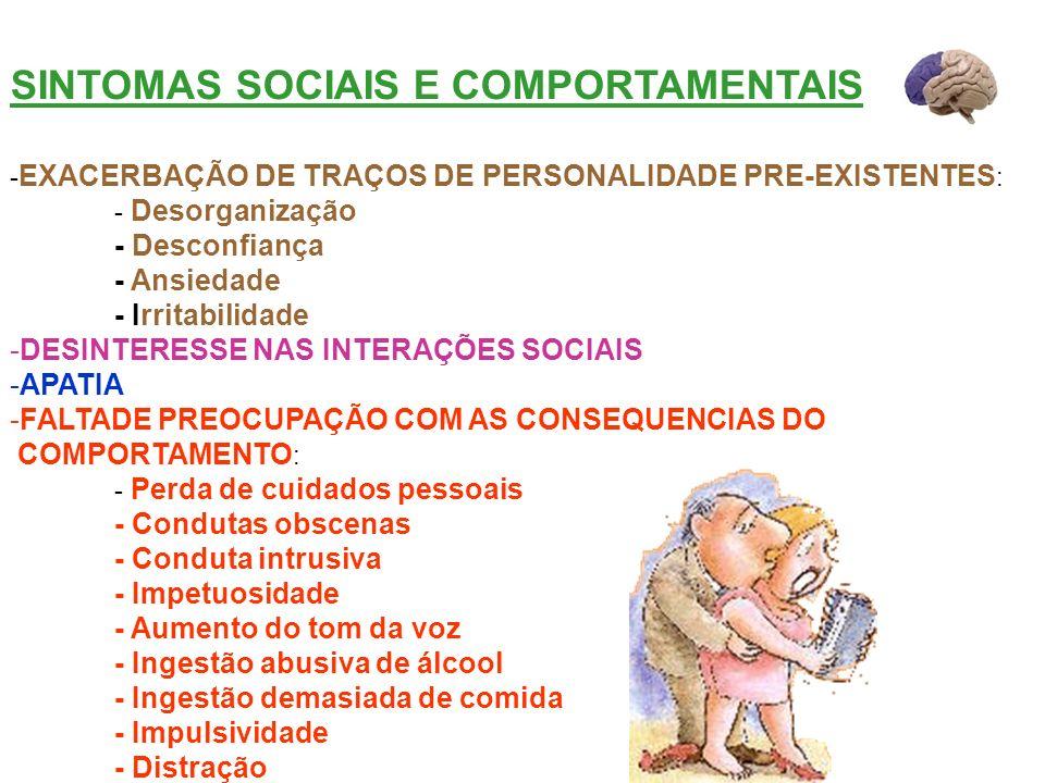 SINTOMAS SOCIAIS E COMPORTAMENTAIS - EXACERBAÇÃO DE TRAÇOS DE PERSONALIDADE PRE-EXISTENTES : - Desorganização - Desconfiança - Ansiedade - Irritabilid