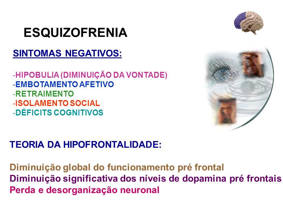 ESQUIZOFRENIA SINTOMAS NEGATIVOS: -HIPOBULIA (DIMINUIÇÃO DA VONTADE) -EMBOTAMENTO AFETIVO -RETRAIMENTO -ISOLAMENTO SOCIAL -DÉFICITS COGNITIVOS TEORIA