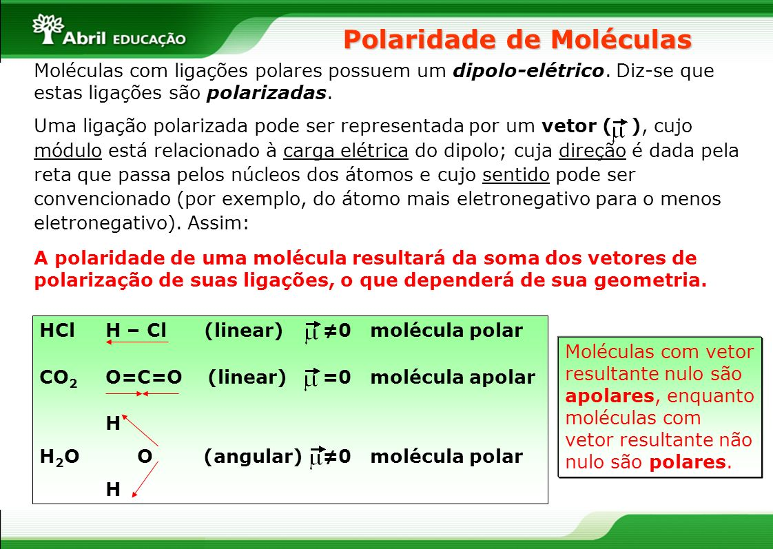 Polaridade de Moléculas Moléculas com ligações polares possuem um dipolo-elétrico. Diz-se que estas ligações são polarizadas. Uma ligação polarizada p