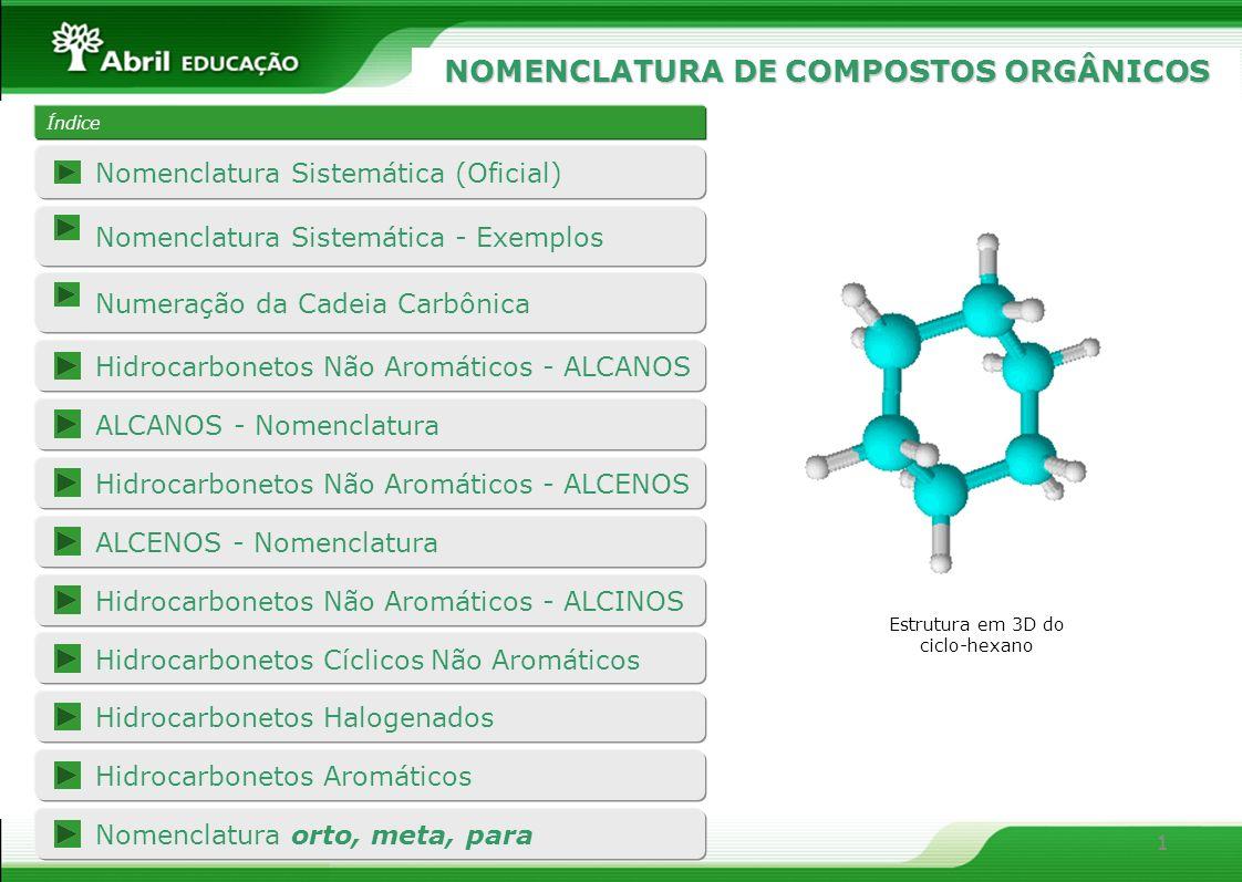 2 A base da nomenclatura sistemática utilizada hoje estabelece que o nome dos compostos orgânicos forneçam informações sobre: Nomenclatura Sistemática (Oficial) Nº de CPrefixo 1MET 2ET 3PROP 4BUT 5PENT 6HEX 7HEPT 8OCT 9NON 10DEC (1) O número de átomos de carbono na cadeia principal do composto: (2) A existência de insaturações: InsaturaçãoIntermediário Só ligações simplesAN 1 ligação duplaEN 2 ligações duplasDIEN 1 ligação triplaIN (3) A função orgânica do composto: FunçãoSufixo HidrocarbonetoO ÁlcoolOL AldeídoAL CetonaONA Ácido CarboxílicoOICO