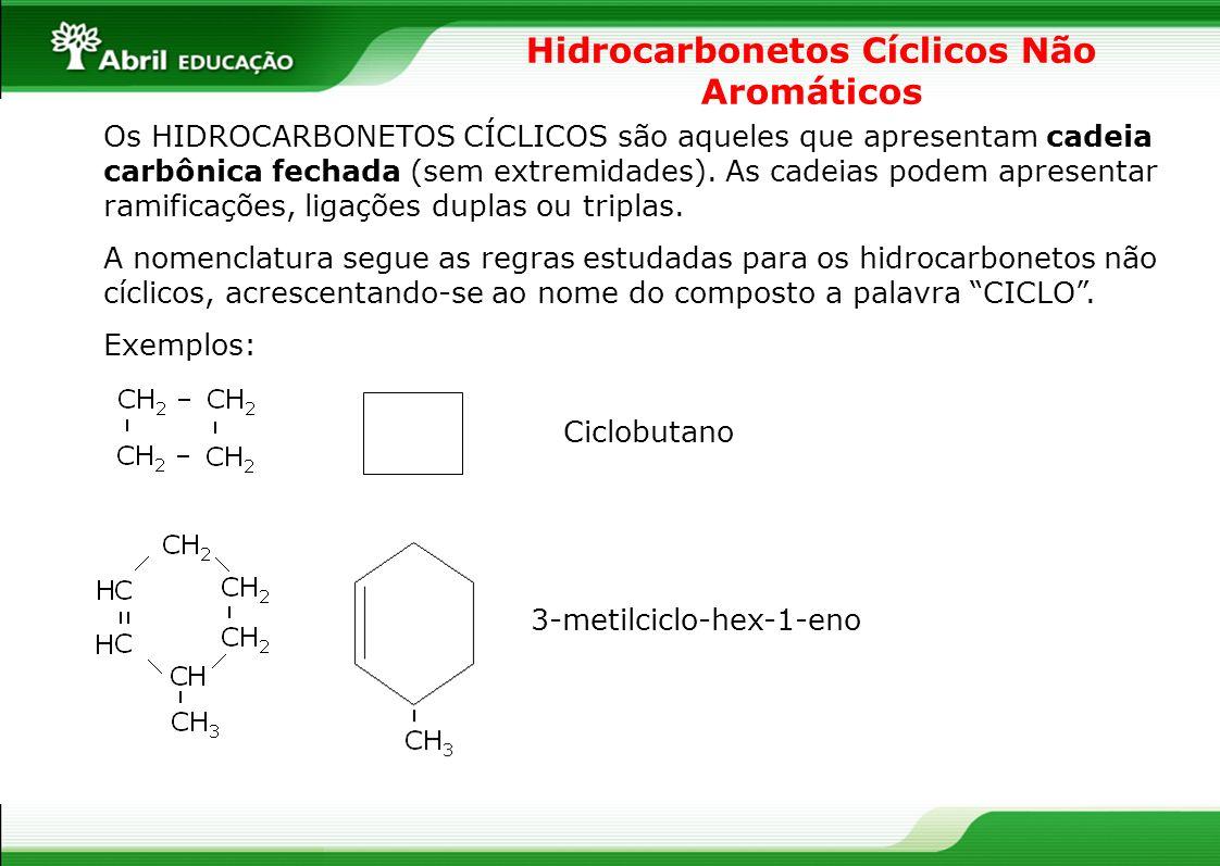 Hidrocarbonetos Cíclicos Não Aromáticos Os HIDROCARBONETOS CÍCLICOS são aqueles que apresentam cadeia carbônica fechada (sem extremidades). As cadeias