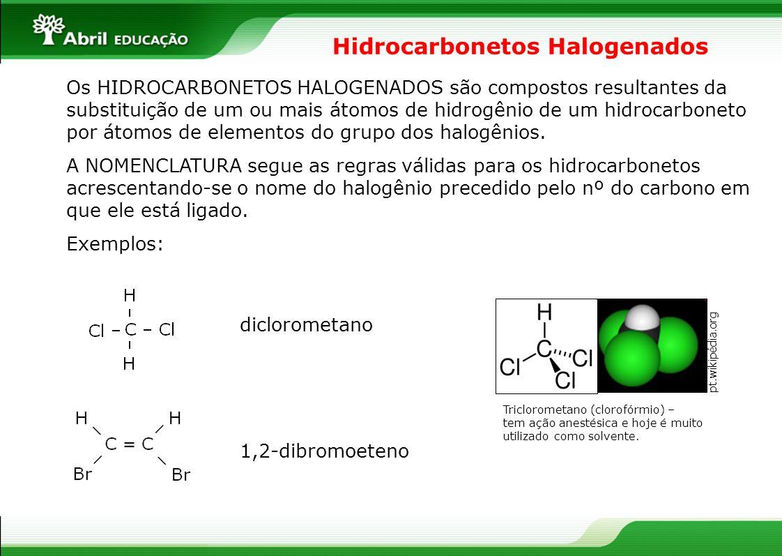 Hidrocarbonetos Halogenados Os HIDROCARBONETOS HALOGENADOS são compostos resultantes da substituição de um ou mais átomos de hidrogênio de um hidrocar