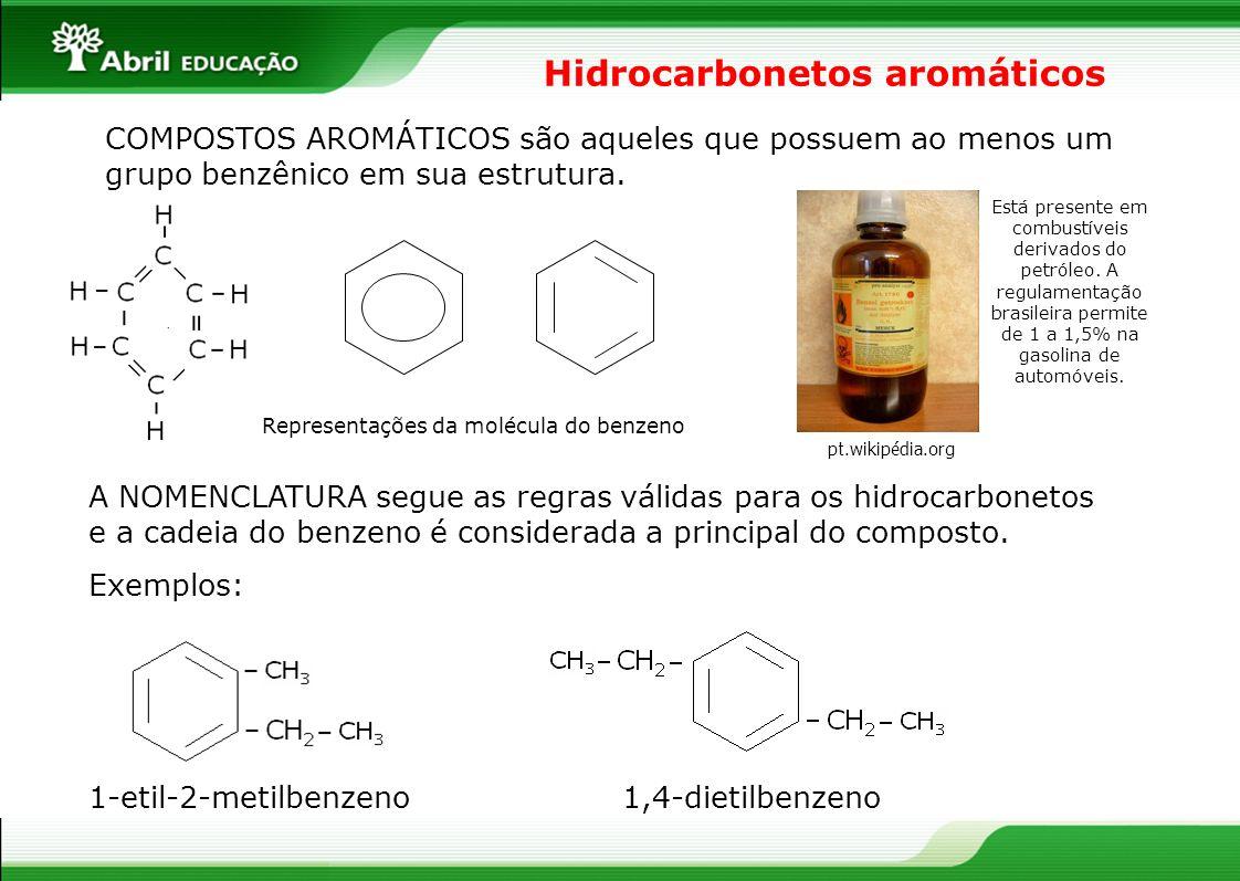 Hidrocarbonetos aromáticos COMPOSTOS AROMÁTICOS são aqueles que possuem ao menos um grupo benzênico em sua estrutura. Representações da molécula do be