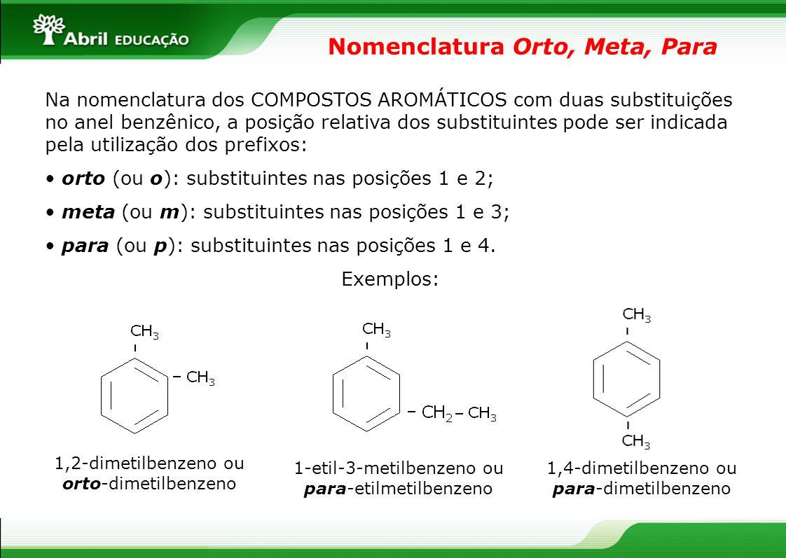 Nomenclatura Orto, Meta, Para Na nomenclatura dos COMPOSTOS AROMÁTICOS com duas substituições no anel benzênico, a posição relativa dos substituintes pode ser indicada pela utilização dos prefixos: orto (ou o): substituintes nas posições 1 e 2; meta (ou m): substituintes nas posições 1 e 3; para (ou p): substituintes nas posições 1 e 4.