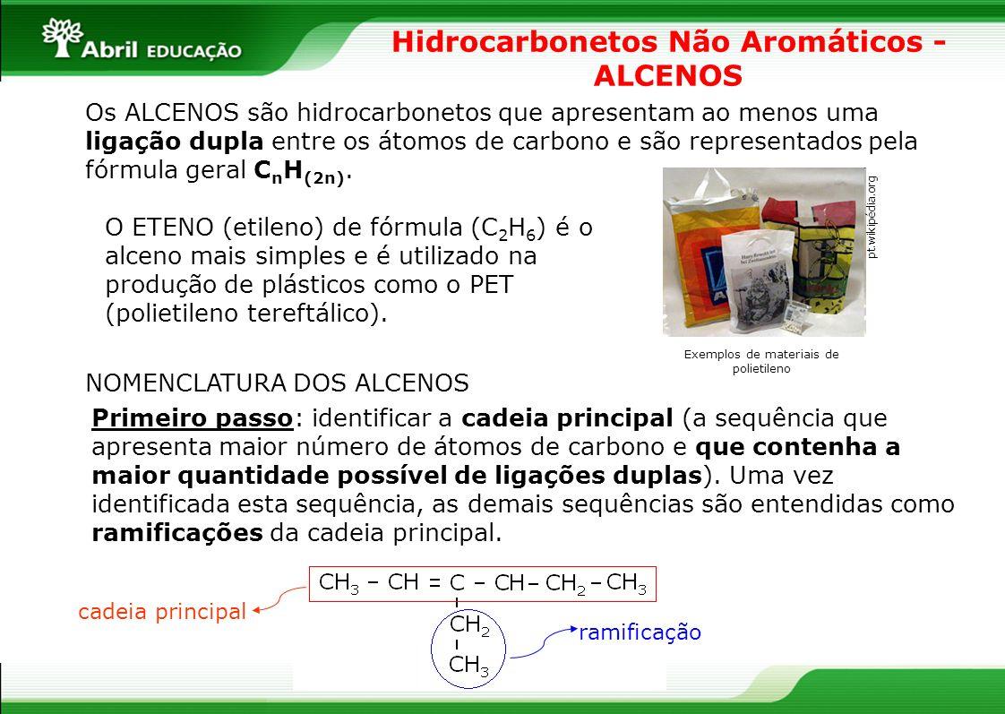 Hidrocarbonetos Não Aromáticos - ALCENOS Os ALCENOS são hidrocarbonetos que apresentam ao menos uma ligação dupla entre os átomos de carbono e são rep