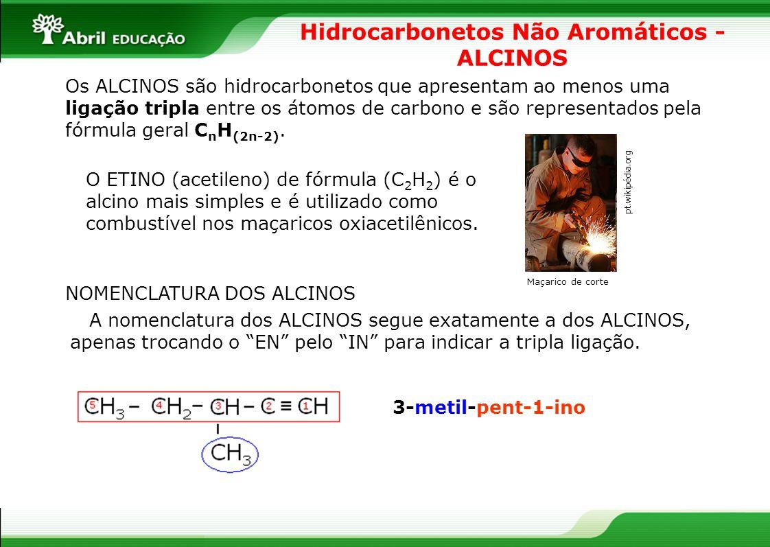 Hidrocarbonetos Não Aromáticos - ALCINOS Os ALCINOS são hidrocarbonetos que apresentam ao menos uma ligação tripla entre os átomos de carbono e são re