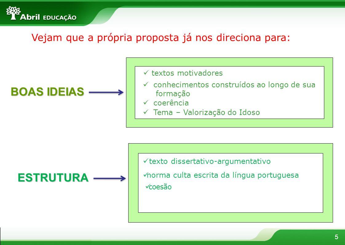 5 BOAS IDEIAS Tema – Valorização do Idoso conhecimentos construídos ao longo de sua formação coerência Vejam que a própria proposta já nos direciona p