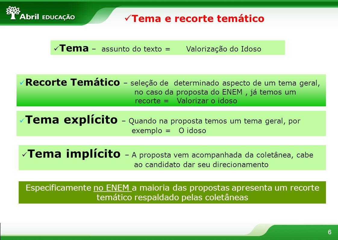6 Tema – assunto do texto = Valorização do Idoso Recorte Temático – seleção de determinado aspecto de um tema geral, no caso da proposta do ENEM, já t