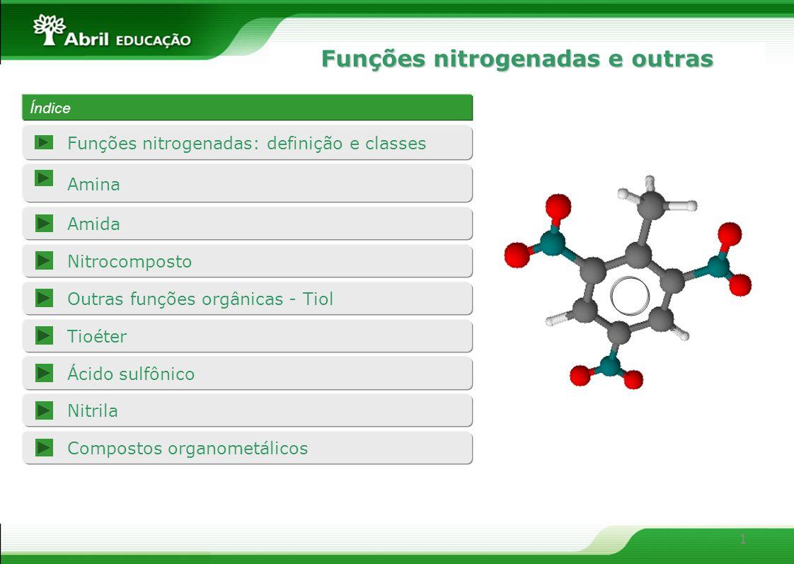 Funções nitrogenadas e outras 1 Amina Amida Funções nitrogenadas: definição e classes Nitrocomposto Outras funções orgânicas - Tiol Tioéter Ácido sulf