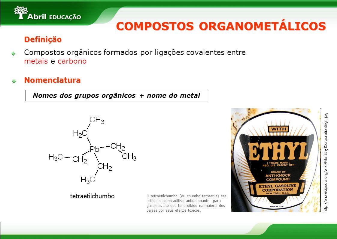 COMPOSTOS ORGANOMETÁLICOS Nomes dos grupos orgânicos + nome do metal O tetraetilchumbo (ou chumbo tetraetila) era utilizado como aditivo antidetonante