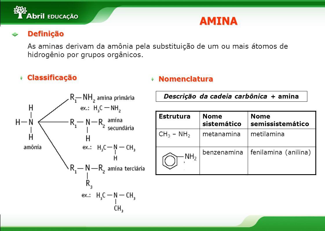 Definição As aminas derivam da amônia pela substituição de um ou mais átomos de hidrogênio por grupos orgânicos. AMINANomenclatura Descrição da cadeia