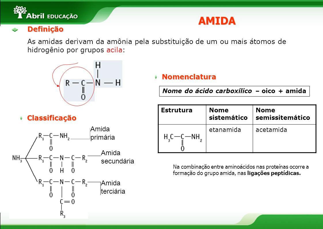 AMIDADefinição As amidas derivam da amônia pela substituição de um ou mais átomos de hidrogênio por grupos acila: Classificação Amida primária Amida s