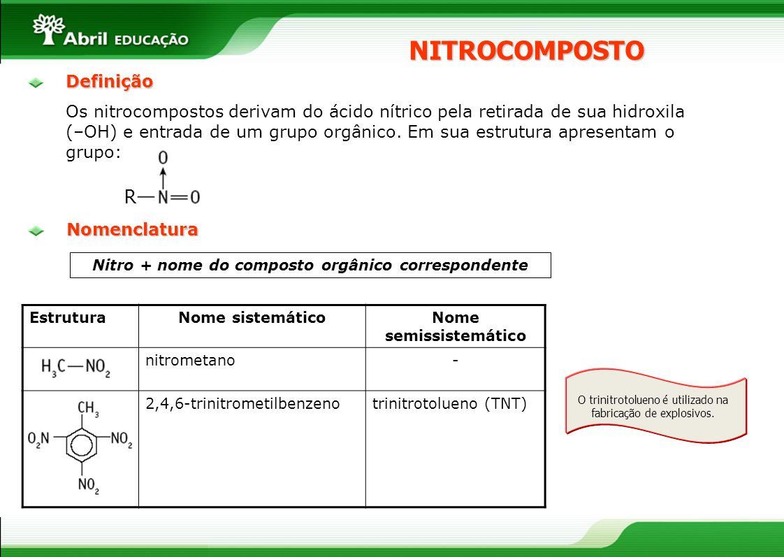 NITROCOMPOSTO Nitro + nome do composto orgânico correspondente EstruturaNome sistemáticoNome semissistemático nitrometano- 2,4,6-trinitrometilbenzenot