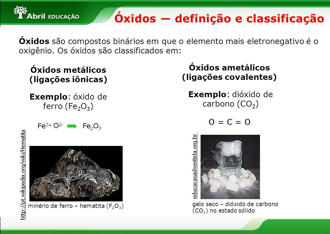 Óxidos definição e classificação Óxidos são compostos binários em que o elemento mais eletronegativo é o oxigênio. Os óxidos são classificados em: Óxi