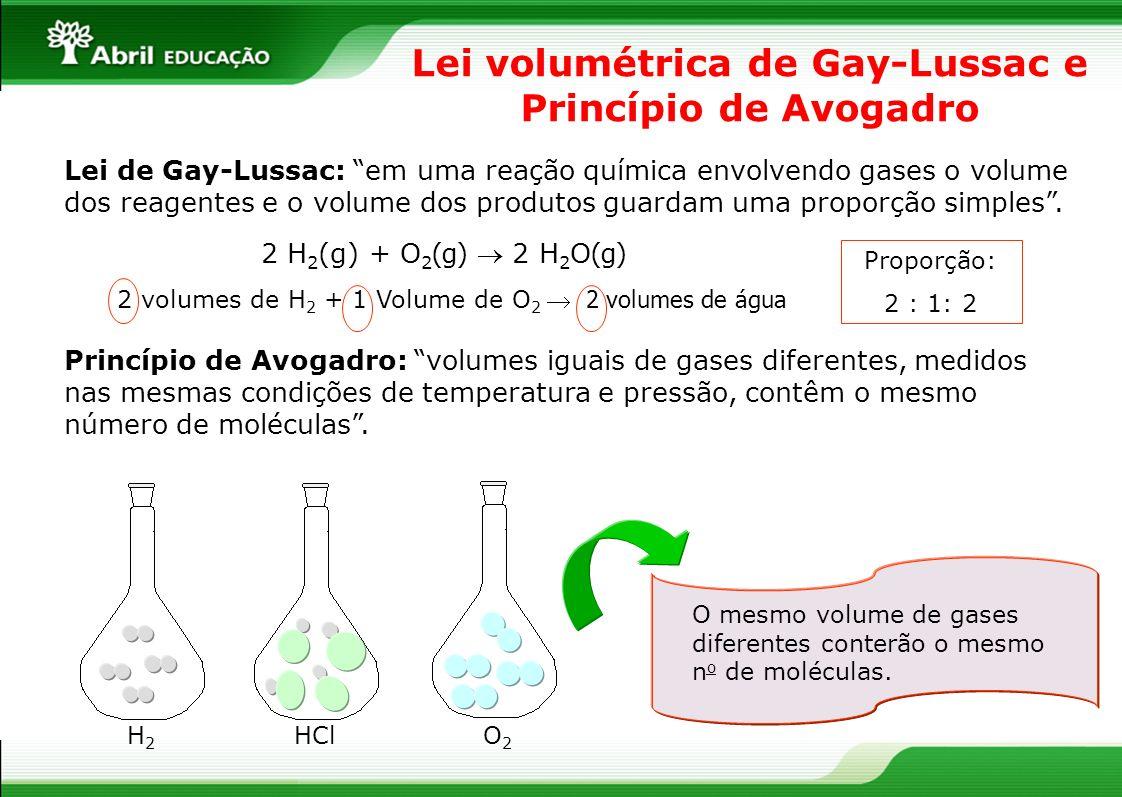 Lei volumétrica de Gay-Lussac e Princípio de Avogadro Lei de Gay-Lussac: em uma reação química envolvendo gases o volume dos reagentes e o volume dos