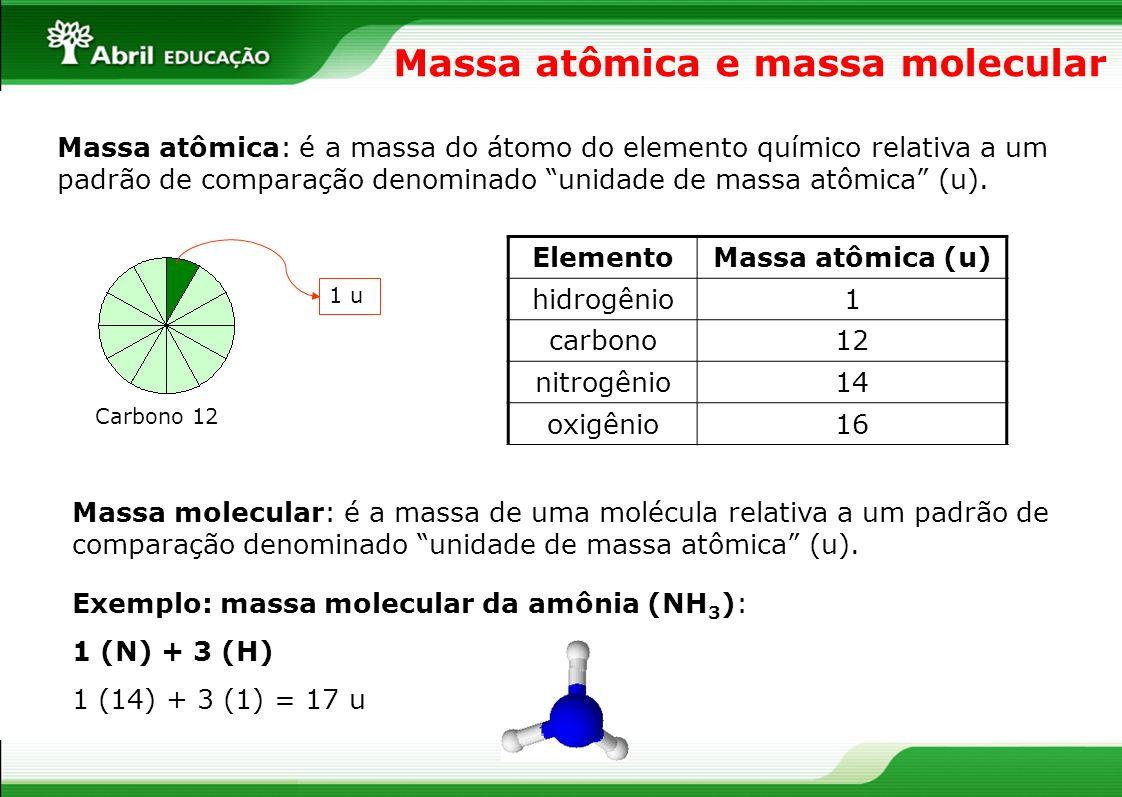 Massa atômica e massa molecular Massa atômica: é a massa do átomo do elemento químico relativa a um padrão de comparação denominado unidade de massa a