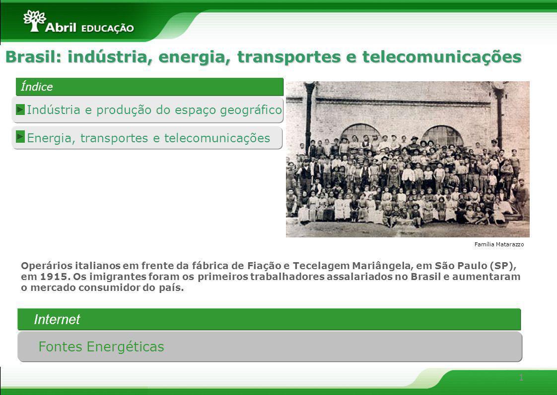 1 Energia, transportes e telecomunicações Indústria e produção do espaço geográfico Índice Índice Brasil: indústria, energia, transportes e telecomuni