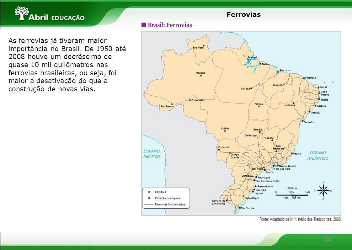 10 Ferrovias As ferrovias já tiveram maior importância no Brasil. De 1950 até 2008 houve um decréscimo de quase 10 mil quilômetros nas ferrovias brasi