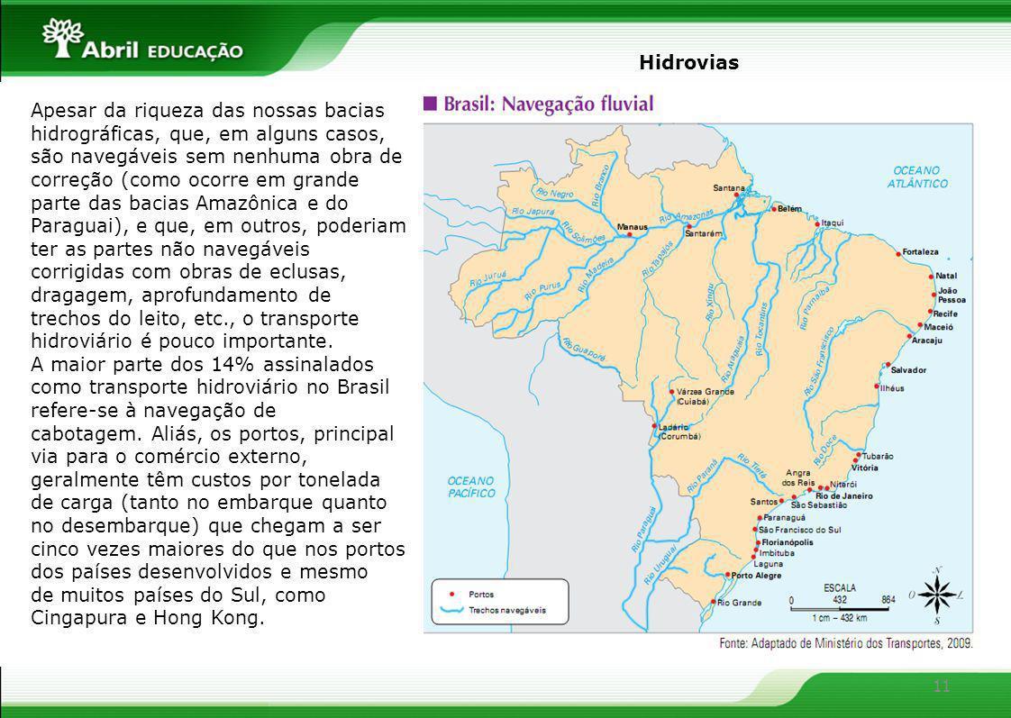 11 Apesar da riqueza das nossas bacias hidrográficas, que, em alguns casos, são navegáveis sem nenhuma obra de correção (como ocorre em grande parte d