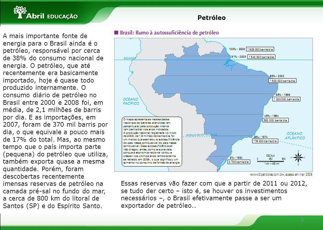 8 A mais importante fonte de energia para o Brasil ainda é o petróleo, responsável por cerca de 38% do consumo nacional de energia. O petróleo, que at