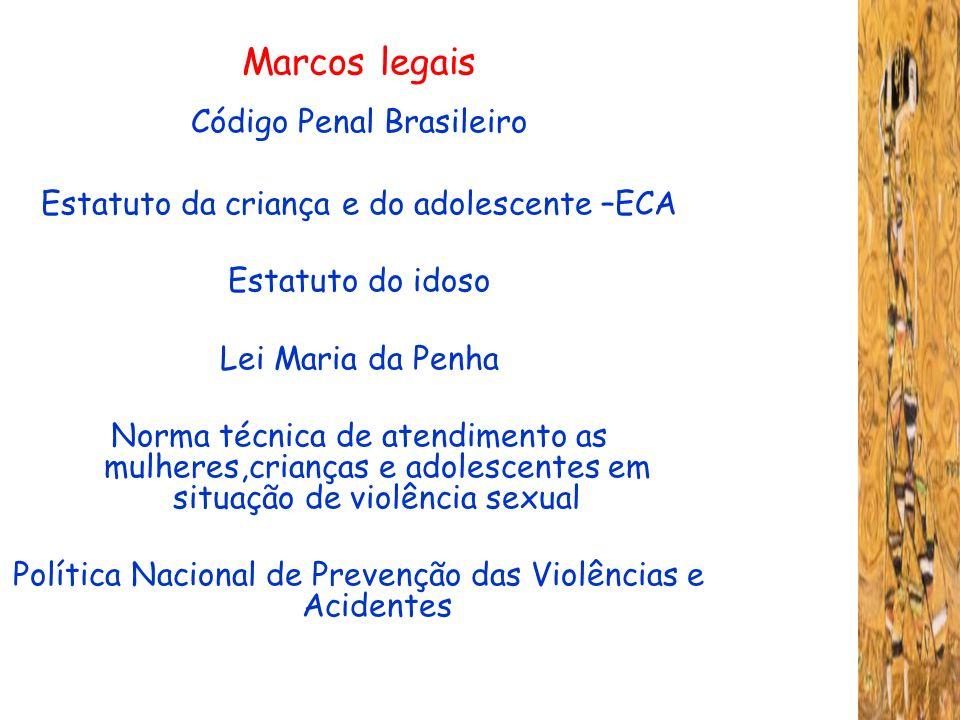 Marcos legais Código Penal Brasileiro Estatuto da criança e do adolescente –ECA Estatuto do idoso Lei Maria da Penha Norma técnica de atendimento as m