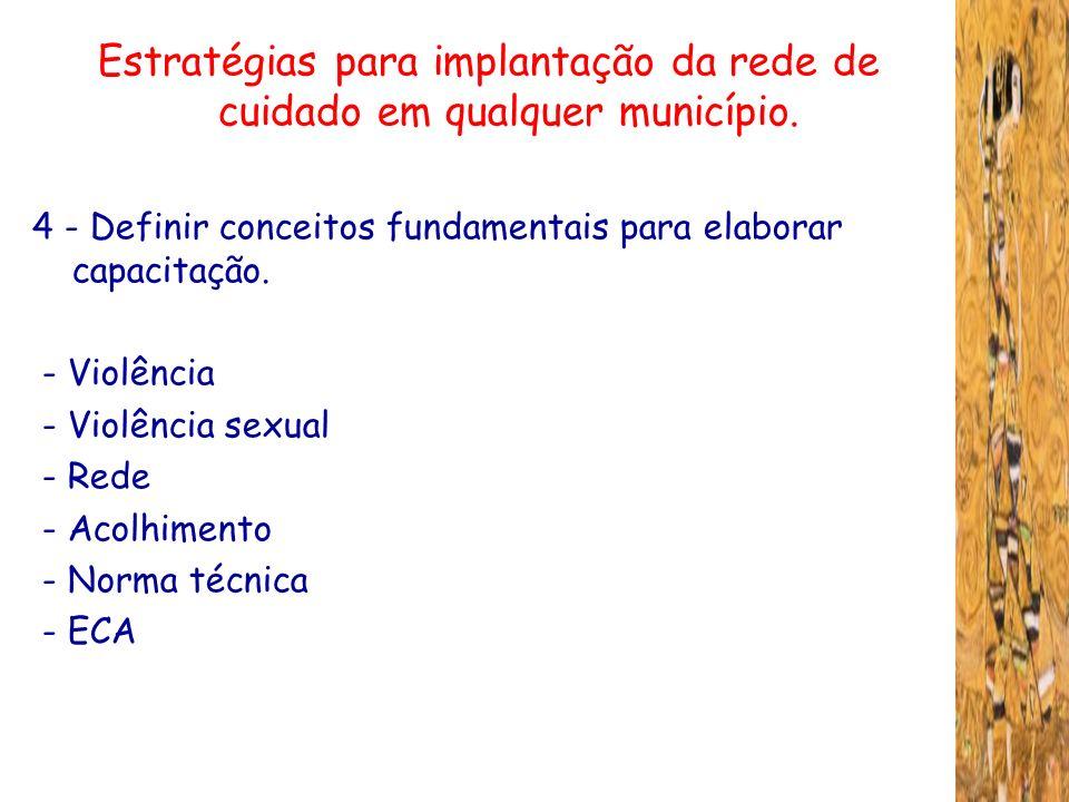 Estratégias para implantação da rede de cuidado em qualquer município. 4 - Definir conceitos fundamentais para elaborar capacitação. - Violência - Vio