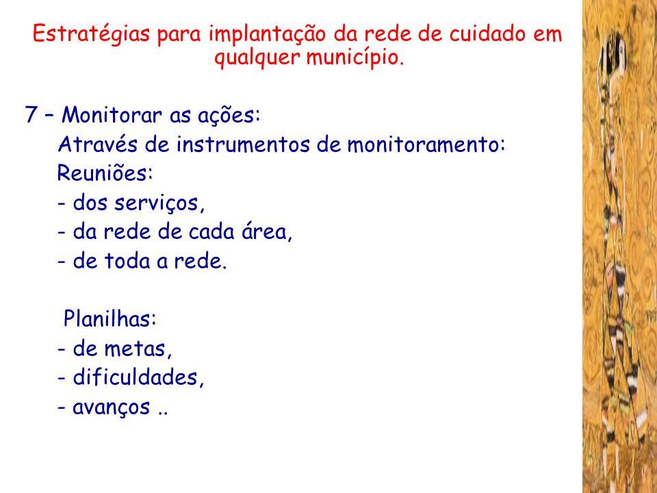 Estratégias para implantação da rede de cuidado em qualquer município. 7 – Monitorar as ações: Através de instrumentos de monitoramento: Reuniões: - d