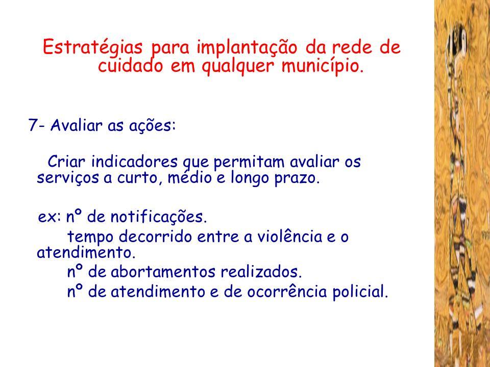 Estratégias para implantação da rede de cuidado em qualquer município. 7- Avaliar as ações: Criar indicadores que permitam avaliar os serviços a curto