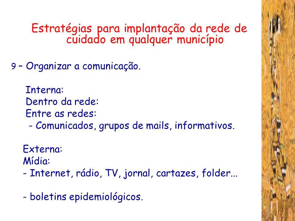 Estratégias para implantação da rede de cuidado em qualquer município 9 – Organizar a comunicação. Interna: Dentro da rede: Entre as redes: - Comunica