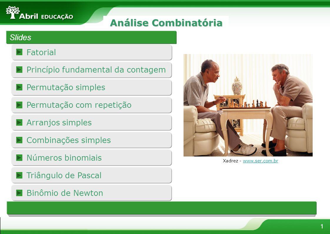Fatorial 1 Análise Combinatória Slides Xadrez - www.ser.com.brwww.ser.com.br Permutação com repetição Princípio fundamental da contagem Permutação sim