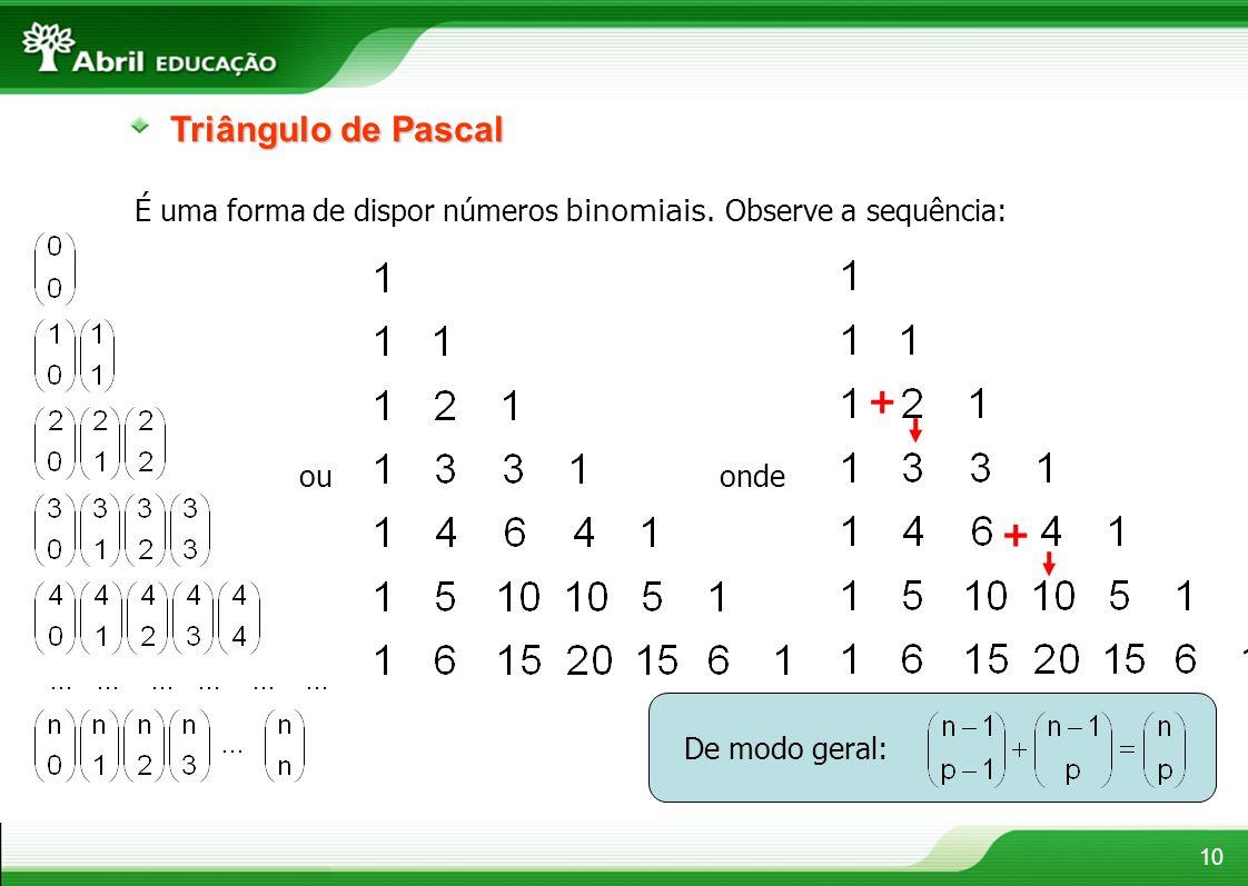 10 Triângulo de Pascal É uma forma de dispor números binomiais. Observe a sequência: ouonde + + De modo geral: