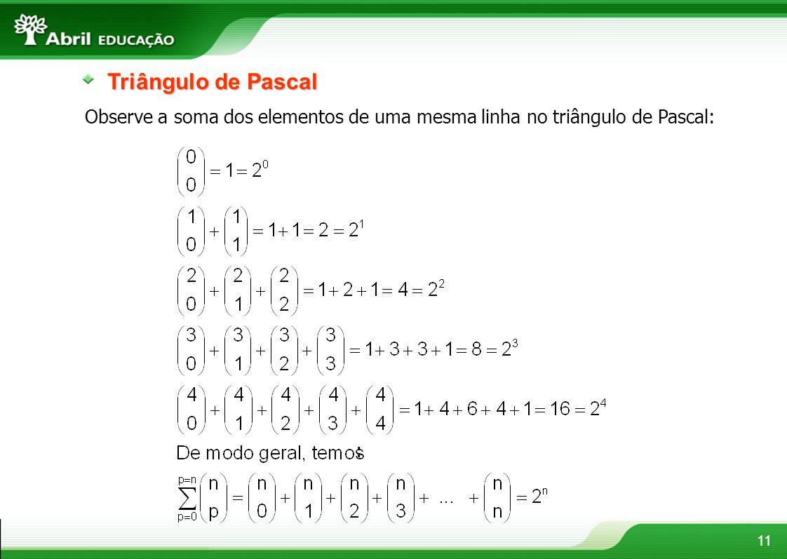 11 Triângulo de Pascal Observe a soma dos elementos de uma mesma linha no triângulo de Pascal: :