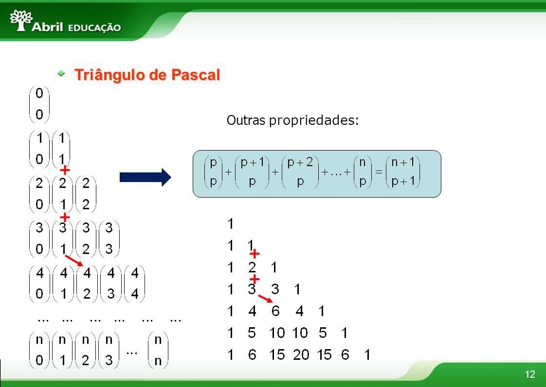12 Triângulo de Pascal Outras propriedades : + + + +