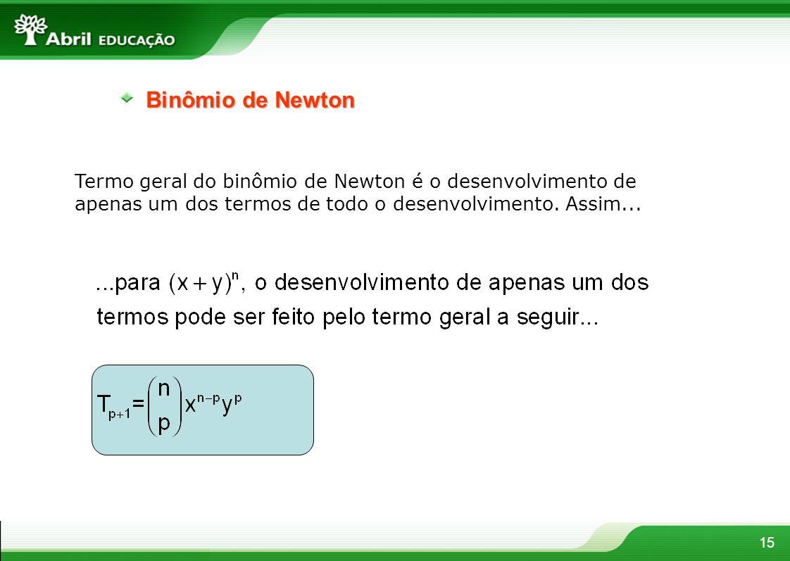 15 Binômio de Newton Termo geral do binômio de Newton é o desenvolvimento de apenas um dos termos de todo o desenvolvimento. Assim...