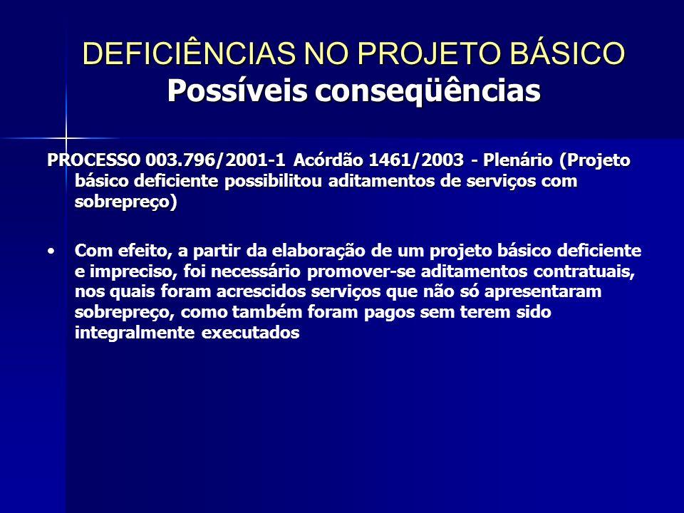 PROCESSO 003.796/2001-1 Acórdão 1461/2003 - Plenário (Projeto básico deficiente possibilitou aditamentos de serviços com sobrepreço) Com efeito, a partir da elaboração de um projeto básico deficiente e impreciso, foi necessário promover-se aditamentos contratuais, nos quais foram acrescidos serviços que não só apresentaram sobrepreço, como também foram pagos sem terem sido integralmente executados DEFICIÊNCIAS NO PROJETO BÁSICO Possíveis conseqüências