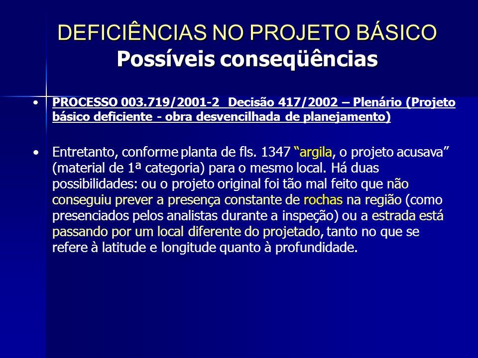 PROCESSO 003.719/2001-2 Decisão 417/2002 – Plenário (Projeto básico deficiente - obra desvencilhada de planejamento) Entretanto, conforme planta de fls.