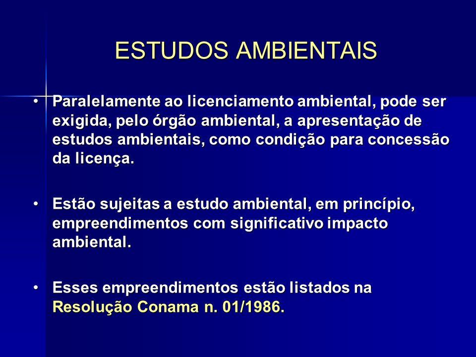 Paralelamente ao licenciamento ambiental, pode ser exigida, pelo órgão ambiental, a apresentação de estudos ambientais, como condição para concessão da licença.Paralelamente ao licenciamento ambiental, pode ser exigida, pelo órgão ambiental, a apresentação de estudos ambientais, como condição para concessão da licença.
