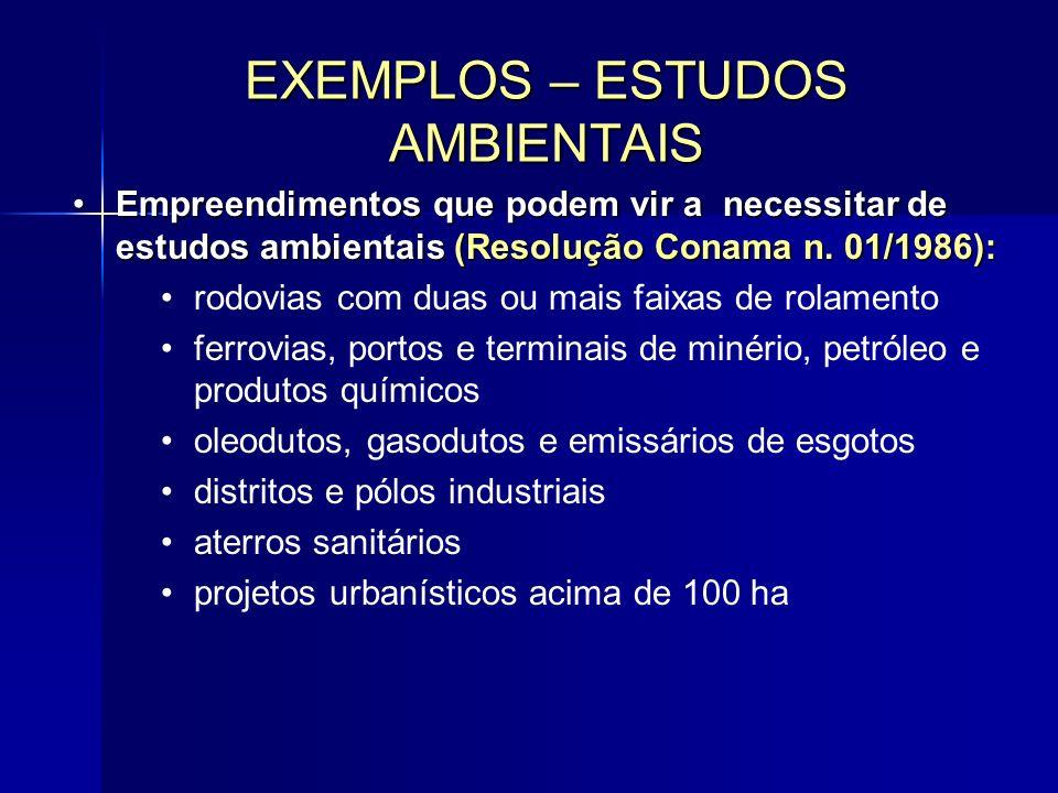 Empreendimentos que podem vir a necessitar de estudos ambientais (Resolução Conama n.