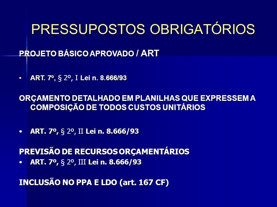 PROJETO BÁSICO APROVADO / ART ART.7º, Lei n. 8.666/93ART.