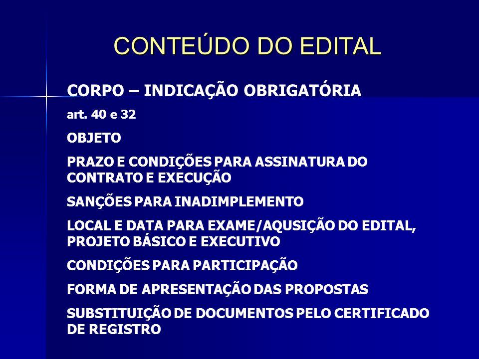 CONTEÚDO DO EDITAL CORPO – INDICAÇÃO OBRIGATÓRIA art.