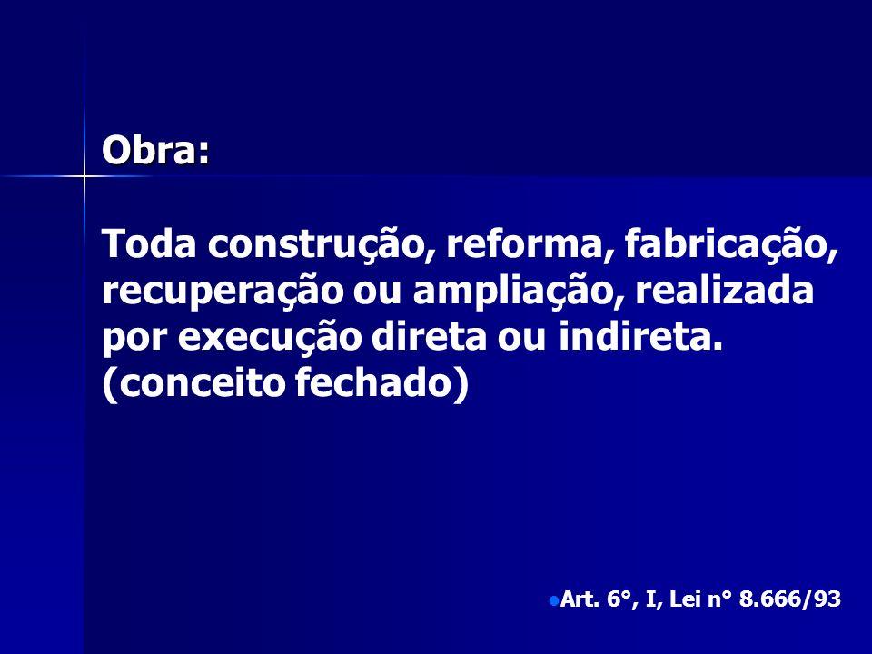 Obra: Toda construção, reforma, fabricação, recuperação ou ampliação, realizada por execução direta ou indireta.
